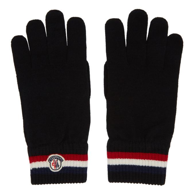 Photo: Moncler Black Wool Stripe Gloves