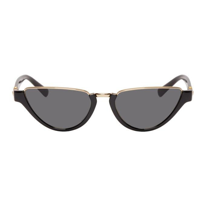 Photo: Versace Black Medusa Half-Rim Cat-Eye Sunglasses