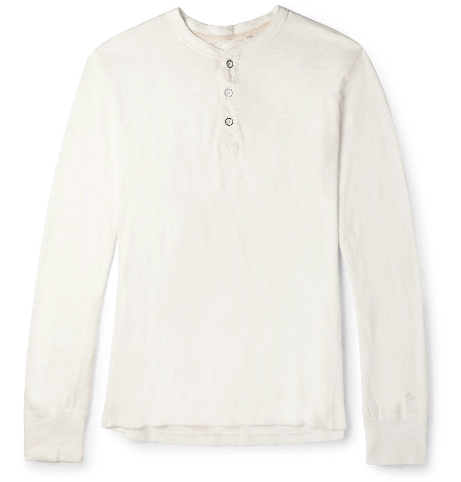 Photo: rag & bone - Slim-Fit Mélange Cotton-Blend Jersey Henley T-Shirt - Neutrals