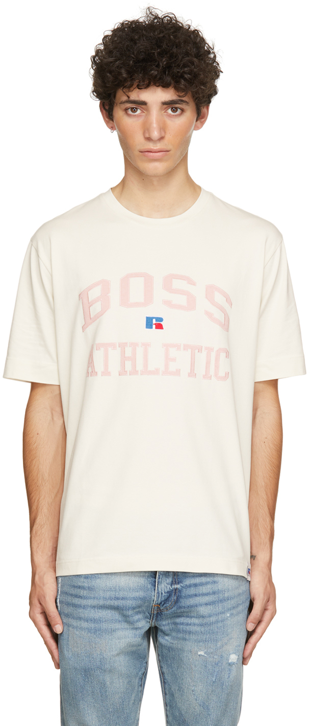 Photo: Boss Beige & Pink Russell Athletic Edition Logo T-Shirt