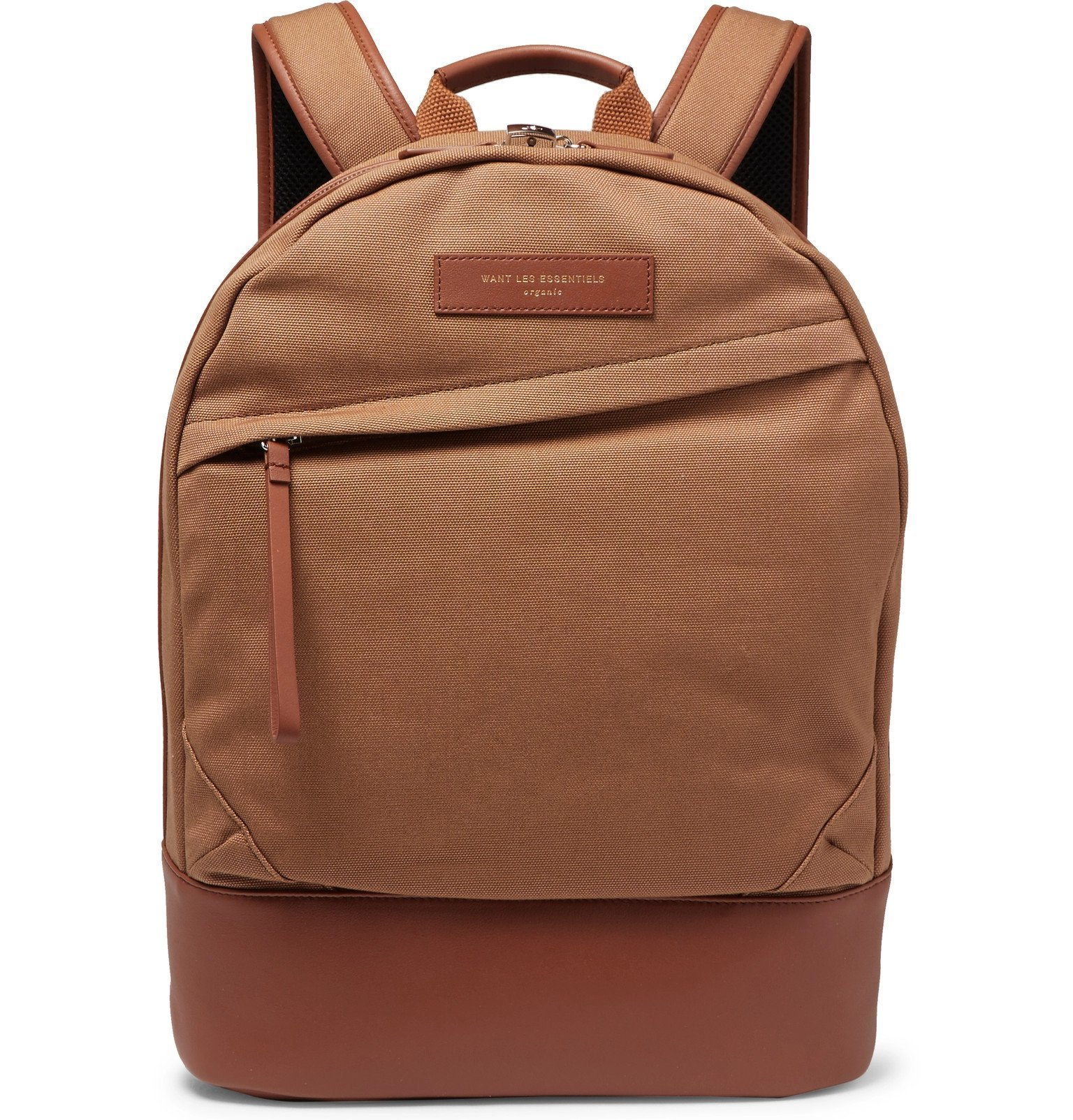 Photo: WANT LES ESSENTIELS - Kastrup Leather-Trimmed Organic Cotton-Canvas Backpack - Brown