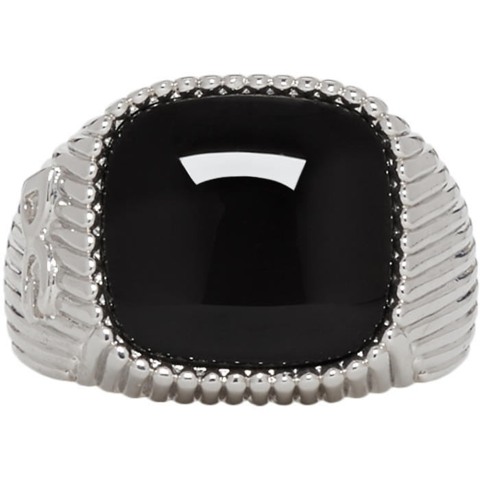 Photo: Dolce and Gabbana Silver and Black DG Stone Ring