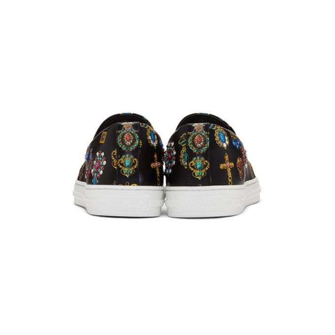 Versace Black and Multicolor Jewel Slip-On Sneakers