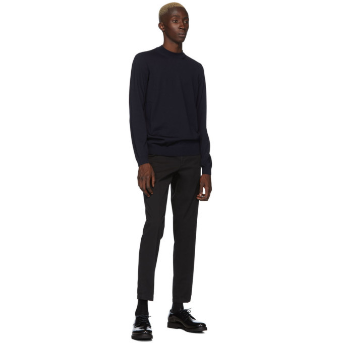 Boss Navy Bjarno Mock Neck Sweater