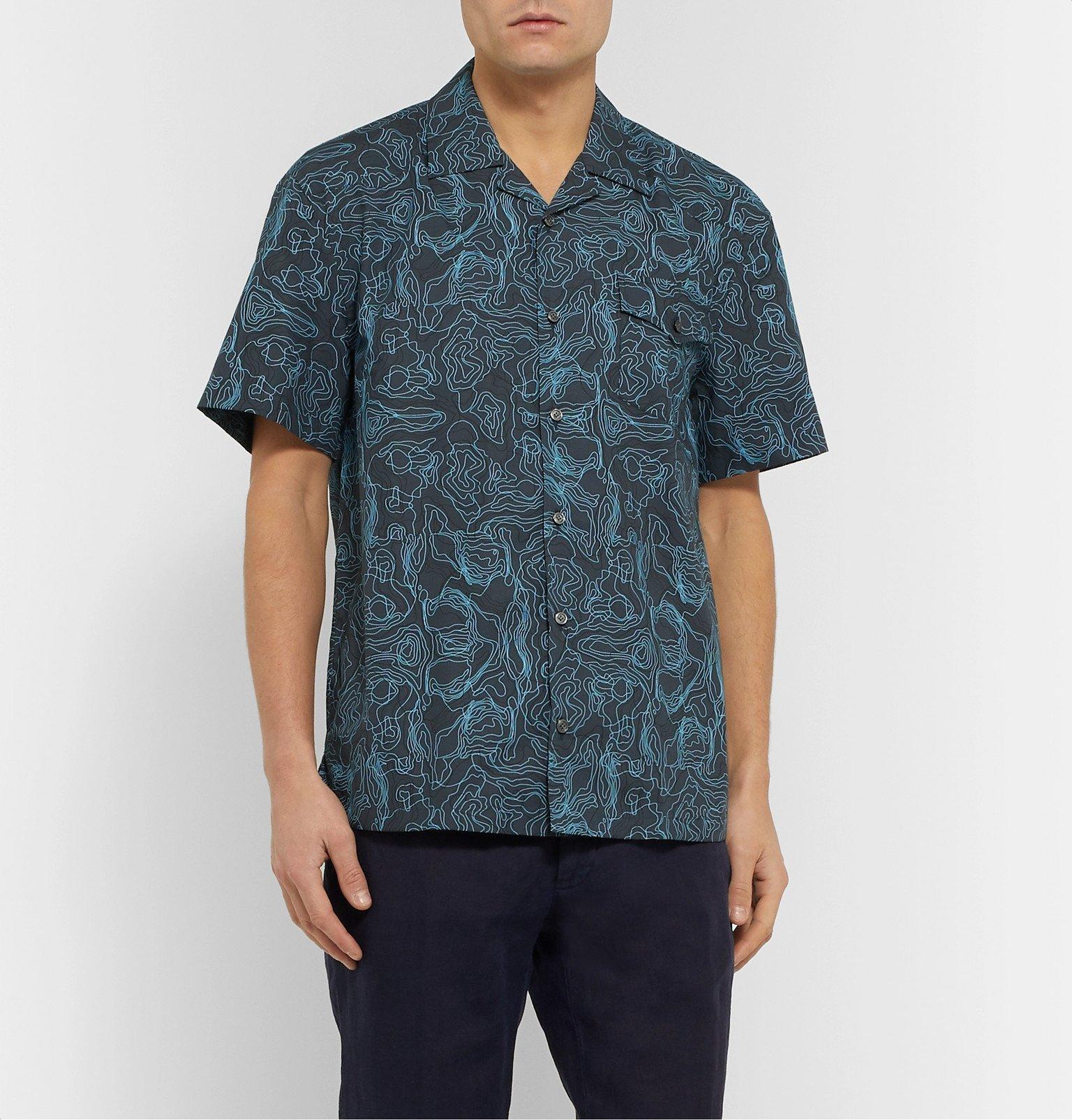 Tod's - Camp-Collar Printed Cotton Shirt - Blue