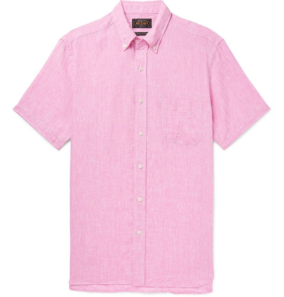 Photo: Beams Plus - Button-Down Collar Slub Linen Shirt - Men - Pink