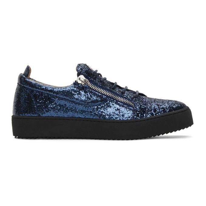 Photo: Giuseppe Zanotti Blue Glitter May London Sneakers