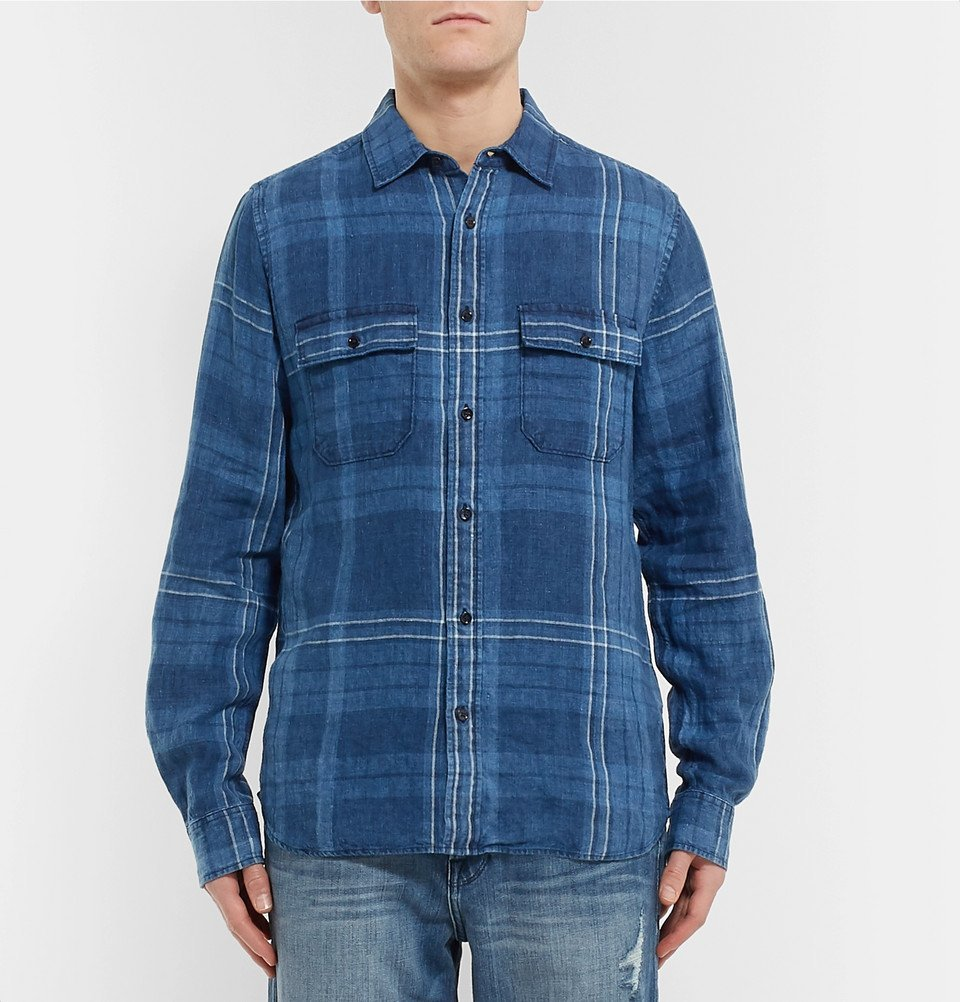 FRAME - Checked Linen Shirt - Blue