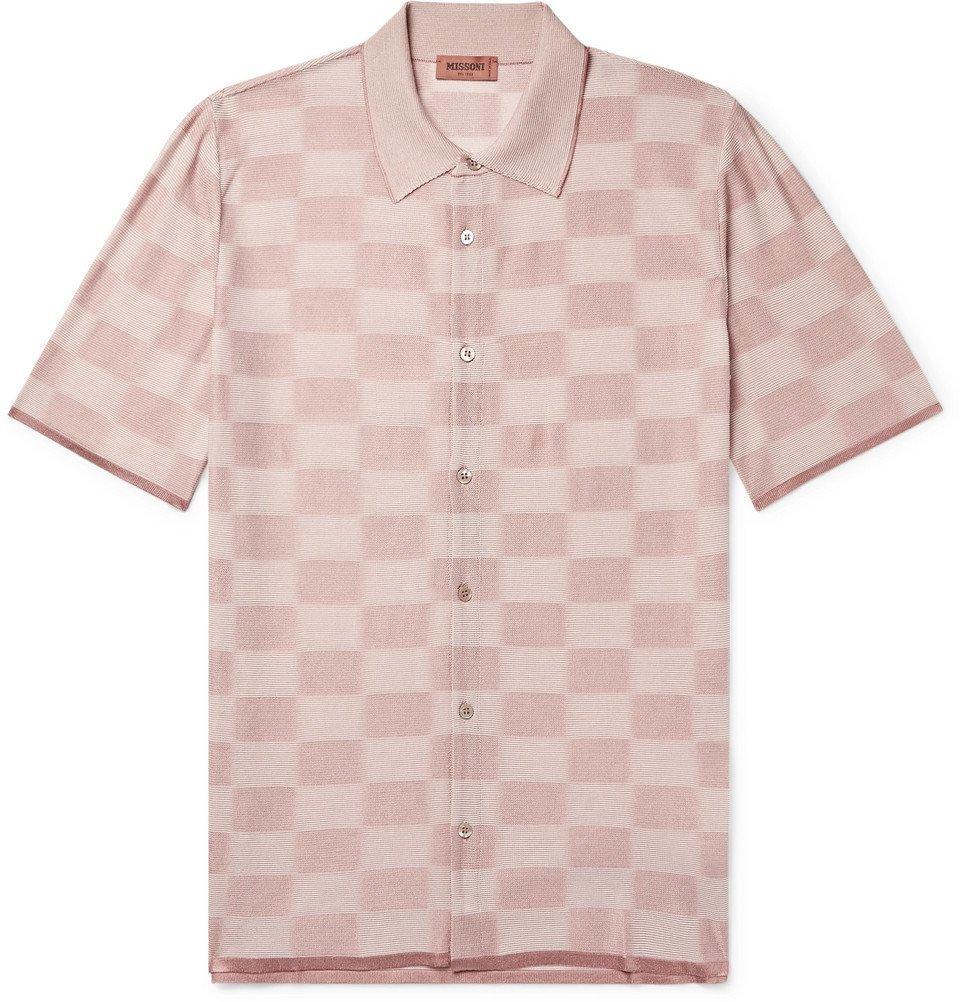 Photo: Missoni - Slim-Fit Checked Jacquard-Knit Shirt - Pink