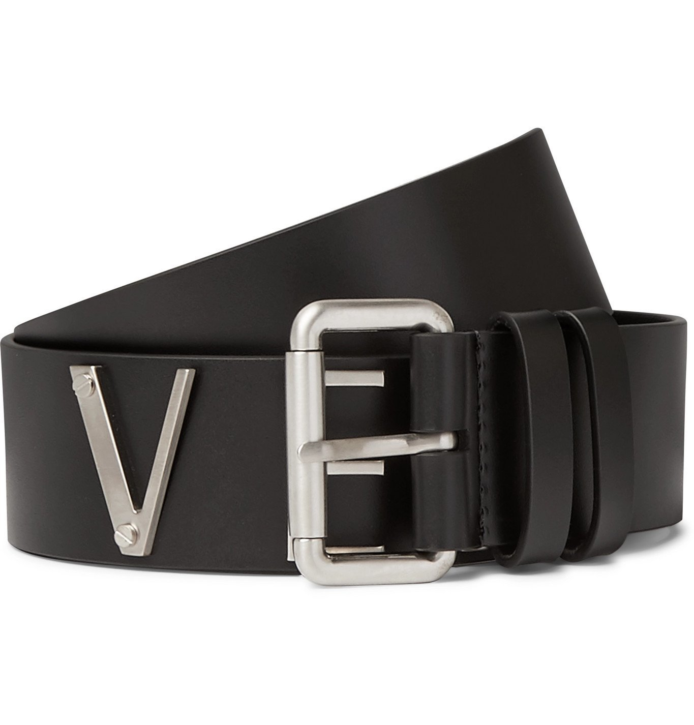 Photo: Versace - Logo-Detailed Leather and Silver-Tone Belt - Black