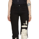 Raf Simons Black and Ecru Double Destroyed Jeans