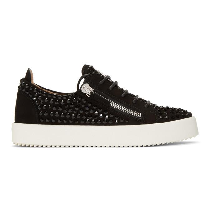 Photo: Giuseppe Zanotti Black Suede Crystal May London Sneakers