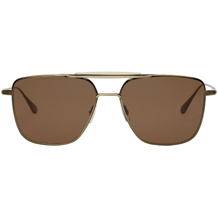 Photo: Garrett Leight Gold and Brown Convoy 56 Sunglasses