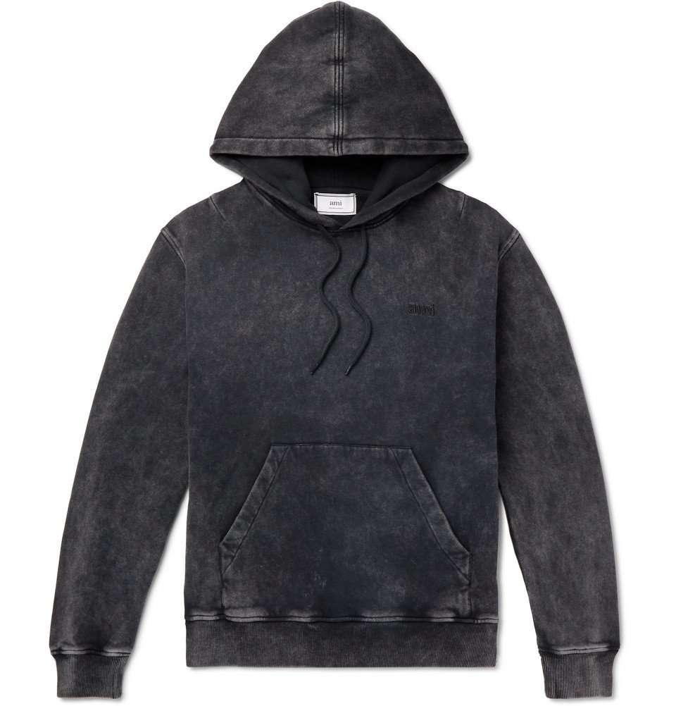 Photo: AMI - Acid-Wash Fleeceback Cotton-Jersey Hoodie - Black