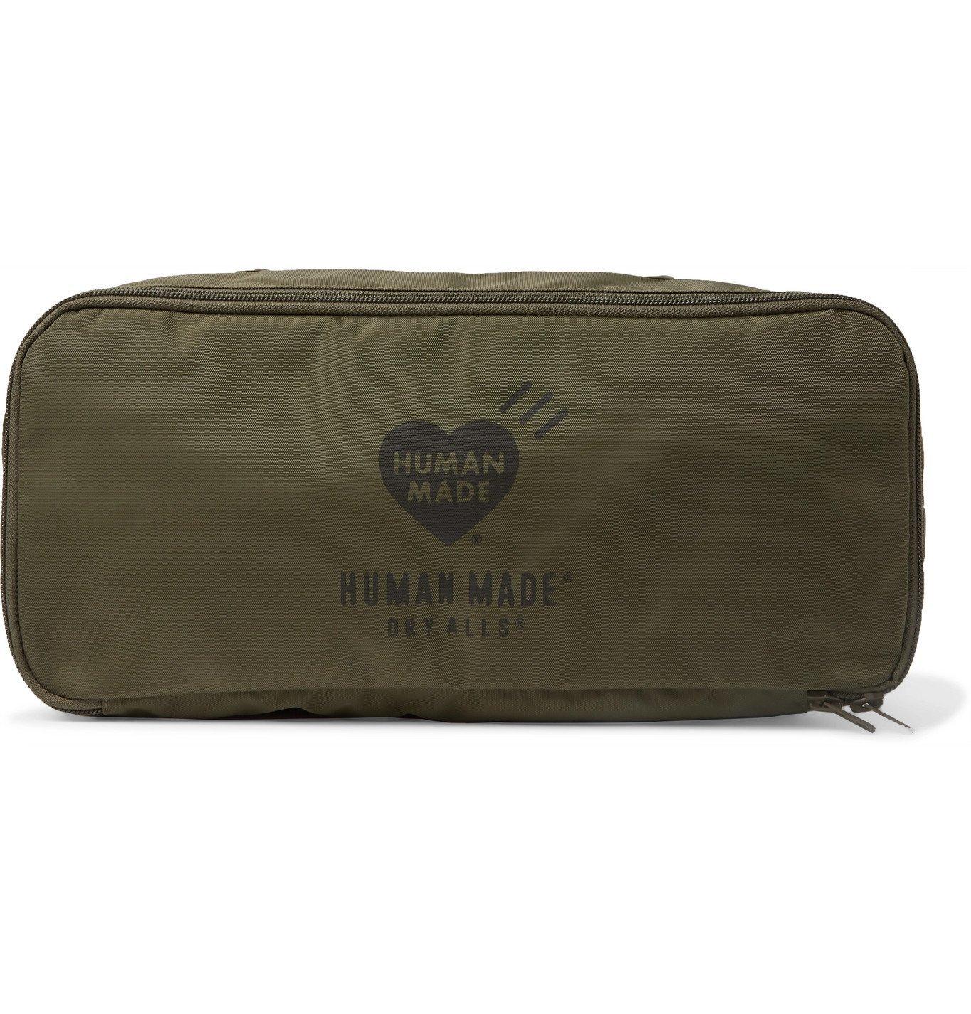 Photo: Human Made - Logo-Print Shell Wash Bag - Green