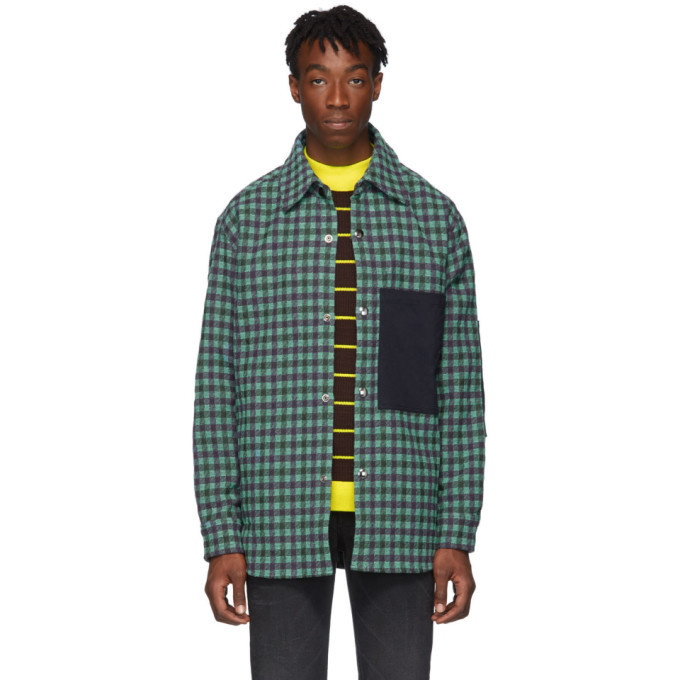 Photo: Acne Studios Green and Purple Plaid Wool Overshirt