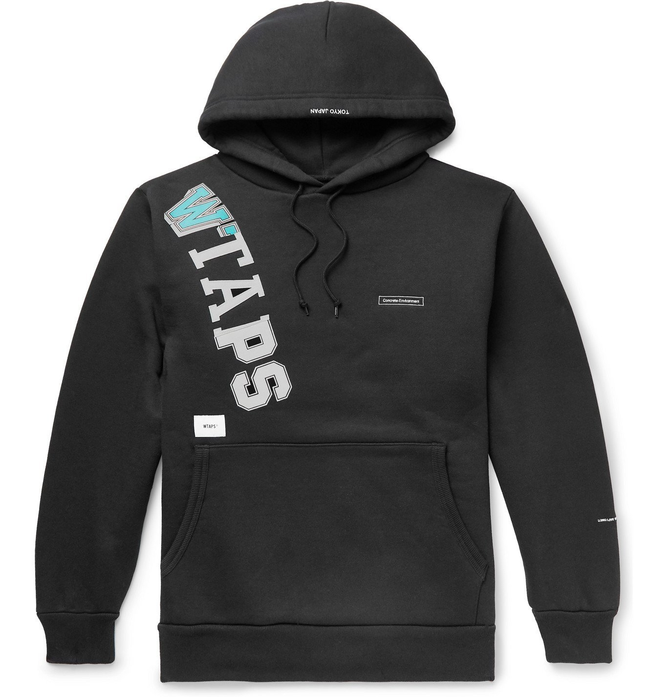 Photo: WTAPS - Katz Logo-Appliquéd Printed Fleece-Back Cotton-Blend Jersey Hoodie - Black