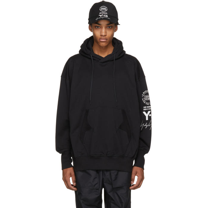 Photo: Y-3 Black Logo Graphic Hoodie
