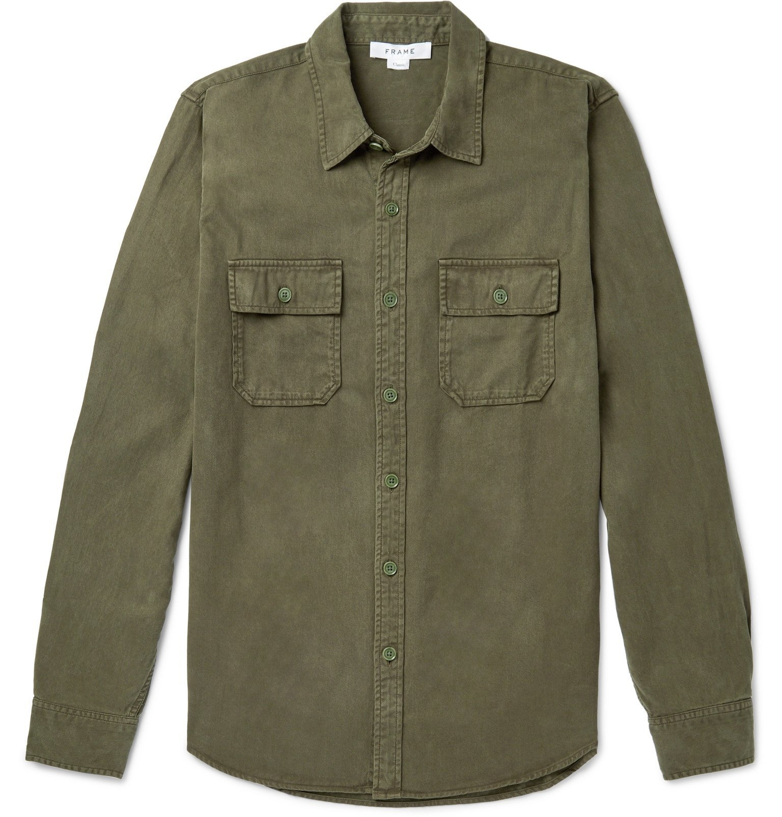 Photo: FRAME - Lyocell and Cotton-Blend Shirt - Green