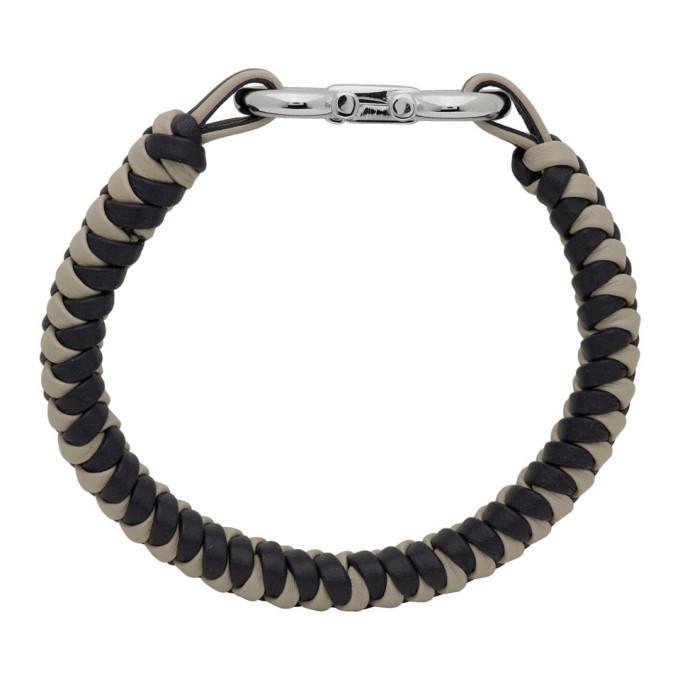 Salvatore Ferragamo Grey and Navy Gancini Bracelet