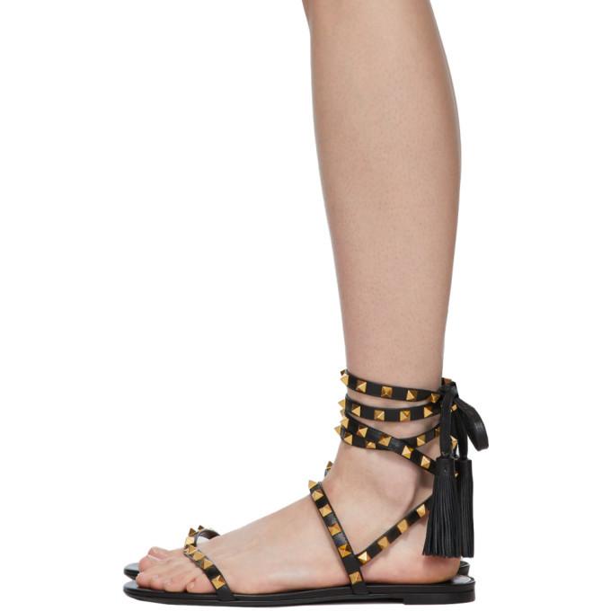 Valentino Black Valentino Garavani Rockstud Flair Thong Sandals