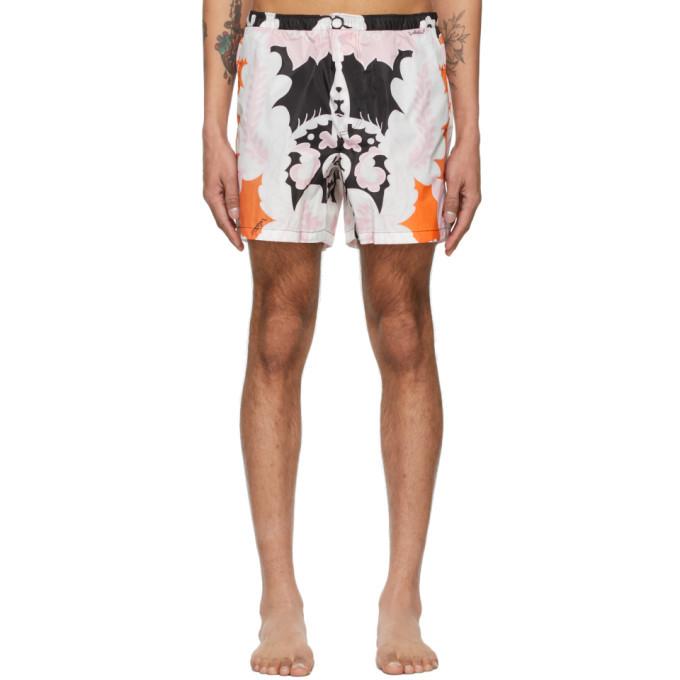 Photo: Valentino Black and Pink World Arazzo Print Swim Shorts