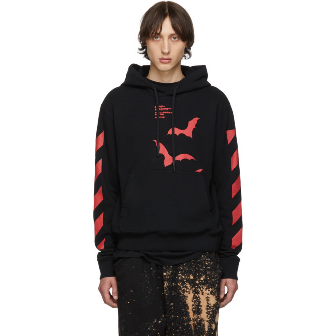 Photo: Off-White Blackand Red Diag Bats Slim Hoodie