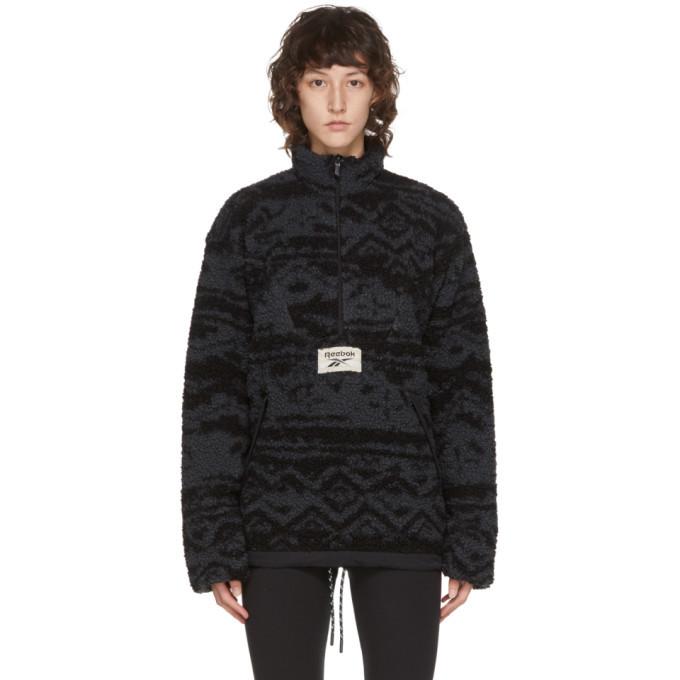 Photo: Reebok Classics Reversible Black and Grey Fleece Half-Zip Sweater
