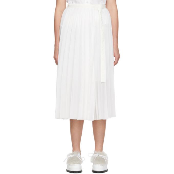 Sacai Off-White Pleated Organza Wrap Skirt