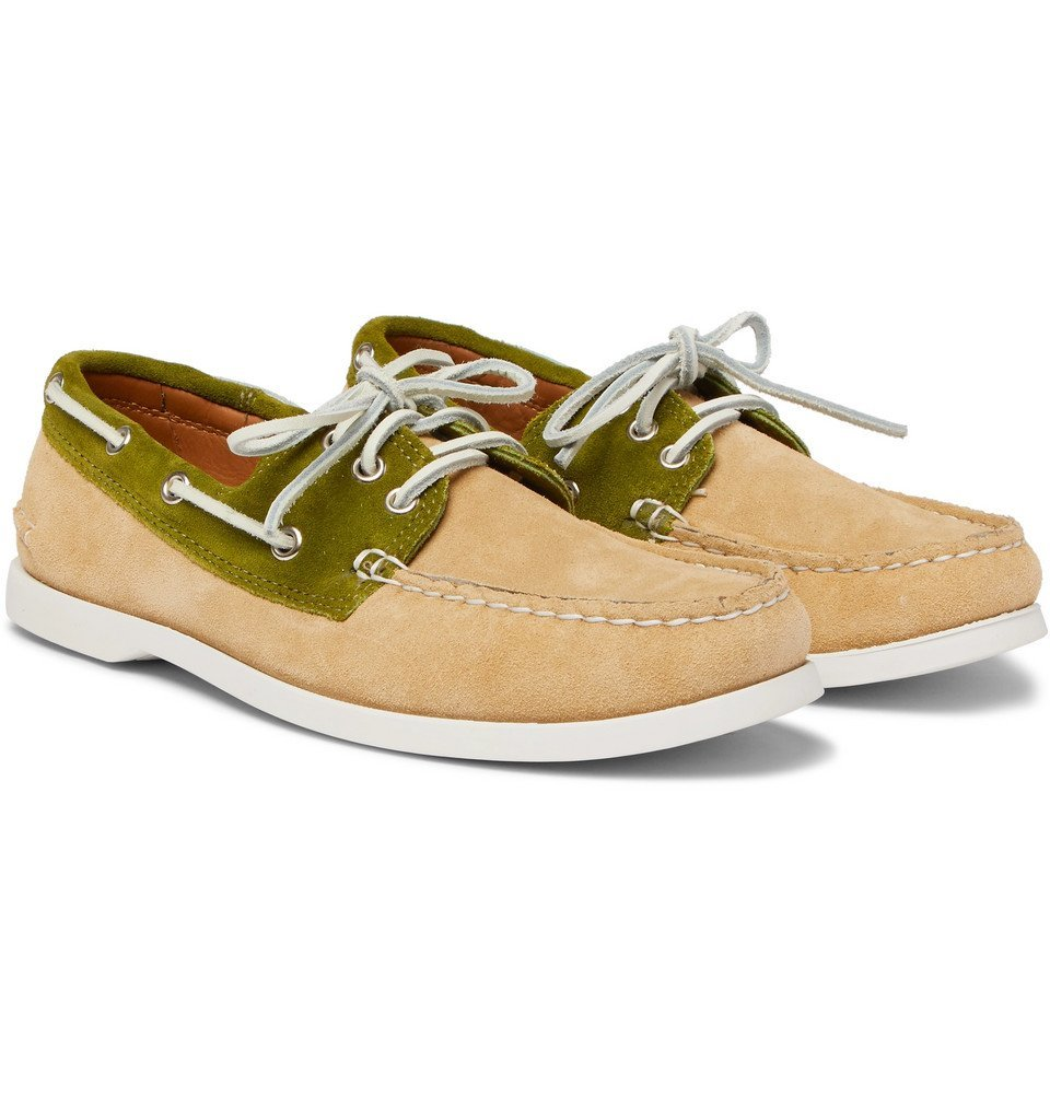 Photo: Quoddy - Downeast Two-Tone Suede Boat Shoes - Sand