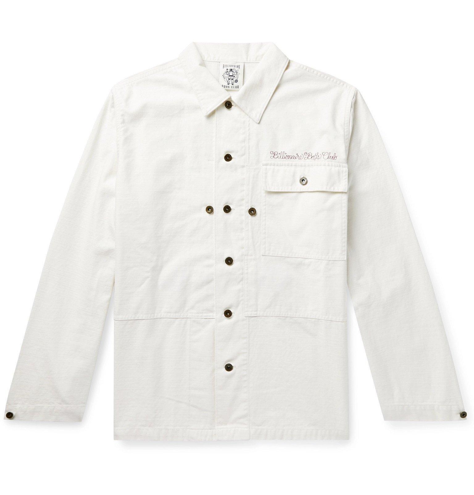 Photo: Billionaire Boys Club - Logo-Embroidered Appliquéd Slub Cotton Jacket - White