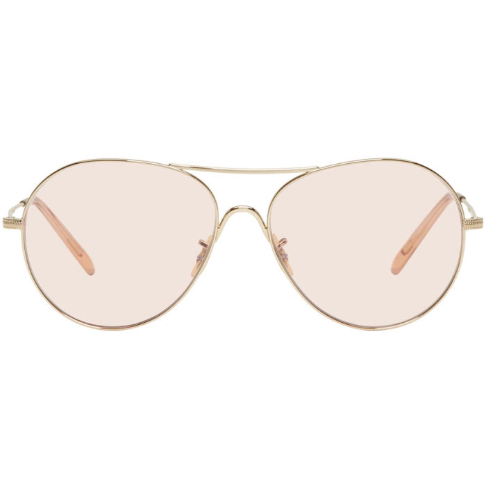 Oliver Peoples Gold and Pink Rockmore Aviator Sunglasses