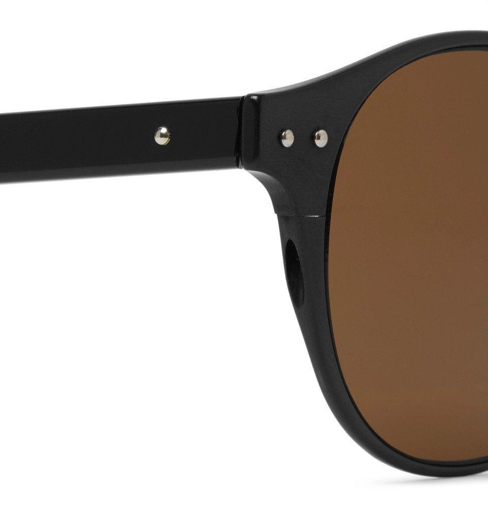Bottega Veneta - Round-Frame Coated-Aluminium and Acetate Sunglasses - Men - Black