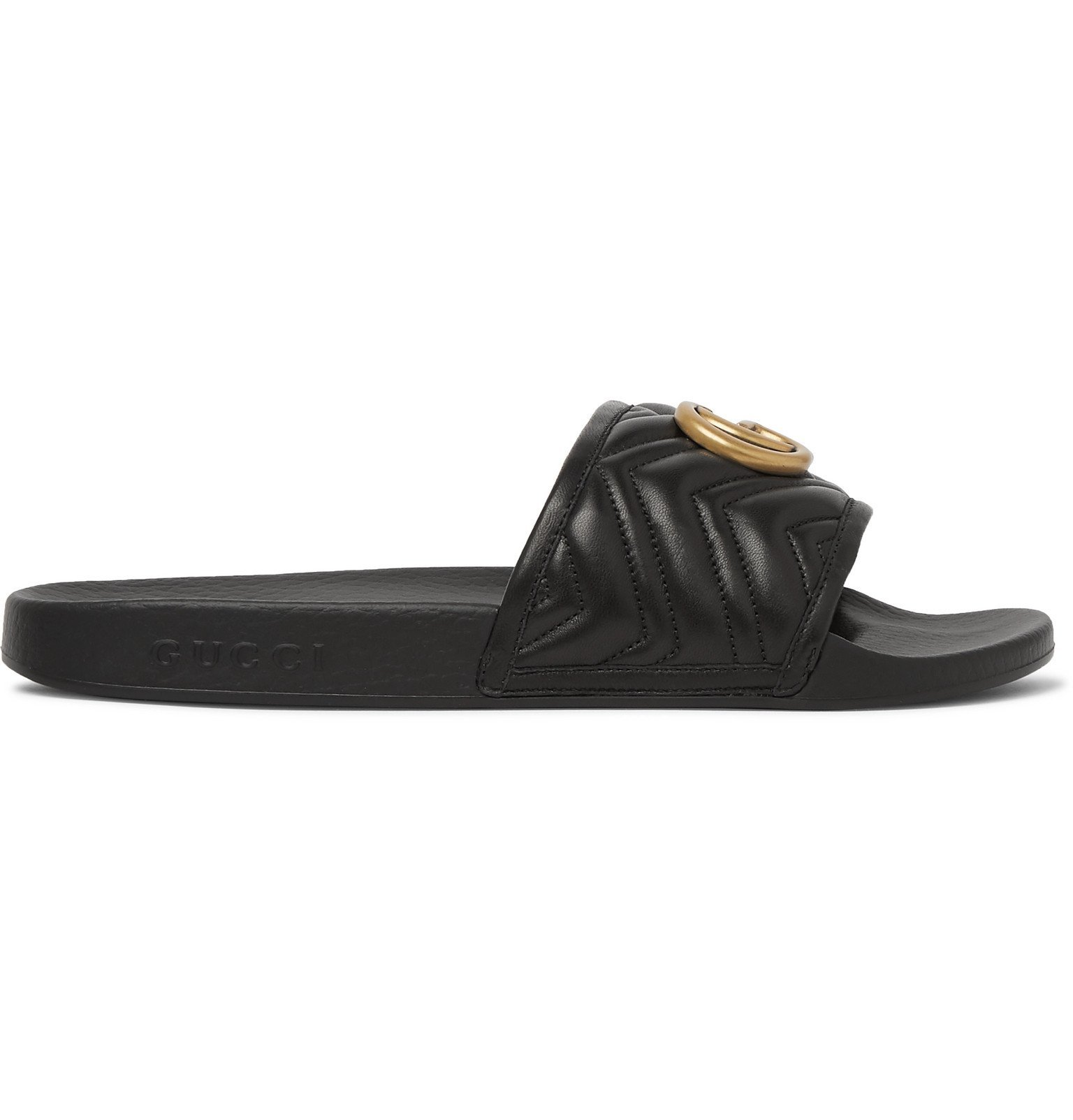 Photo: Gucci - Pursuit Logo-Embellished Quilted Leather Slides - Black