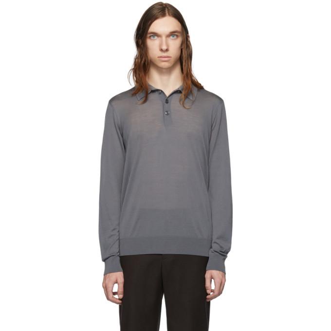 Photo: Giorgio Armani Grey Solid Long Sleeve Polo