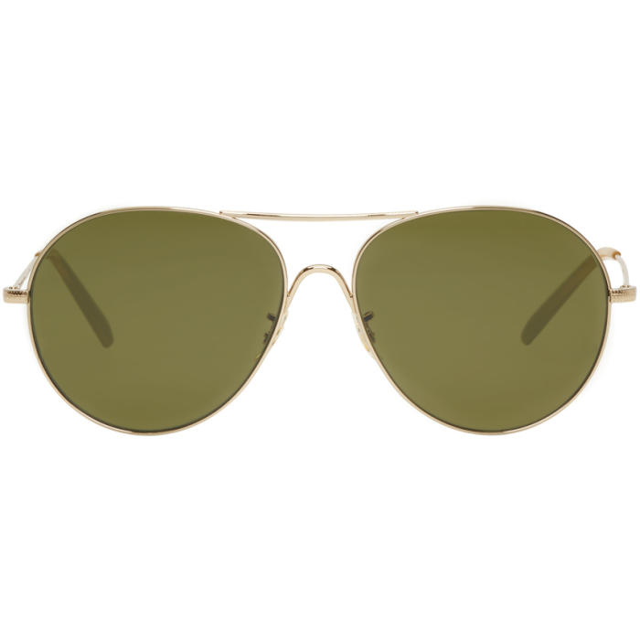 Oliver Peoples Gold and Green Rockmore Aviator Sunglasses