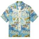 KAPITAL - Camp-Collar Printed Crepe Shirt - Blue