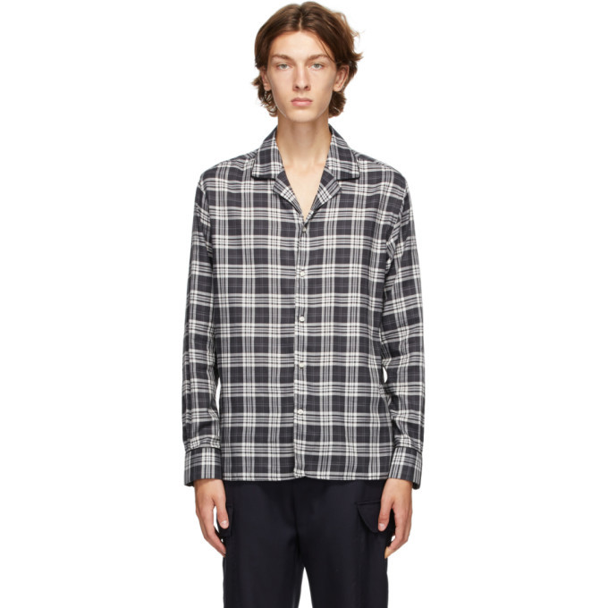 Photo: Officine Generale Black and Grey Dario Piping Check Shirt