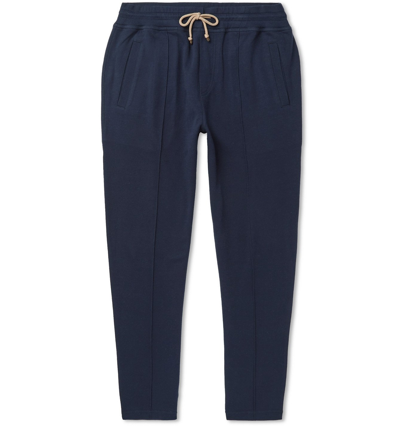 Photo: Brunello Cucinelli - Tapered Cotton-Blend Jersey Sweatpants - Blue