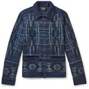 RRL - Cotton-Blend Jacquard Cardigan - Blue