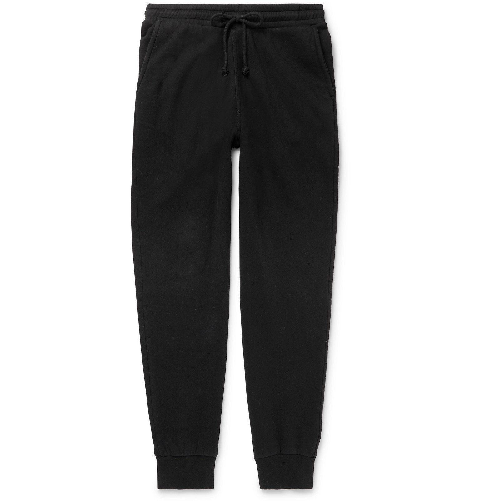 Photo: Holiday Boileau - Slim-Fit Tapered Fleece-Back Cotton-Jersey Sweatpants - Black