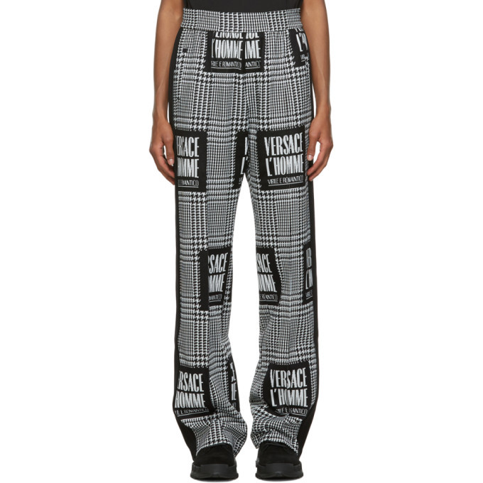 Versace Black and White Address Plate Track Pants