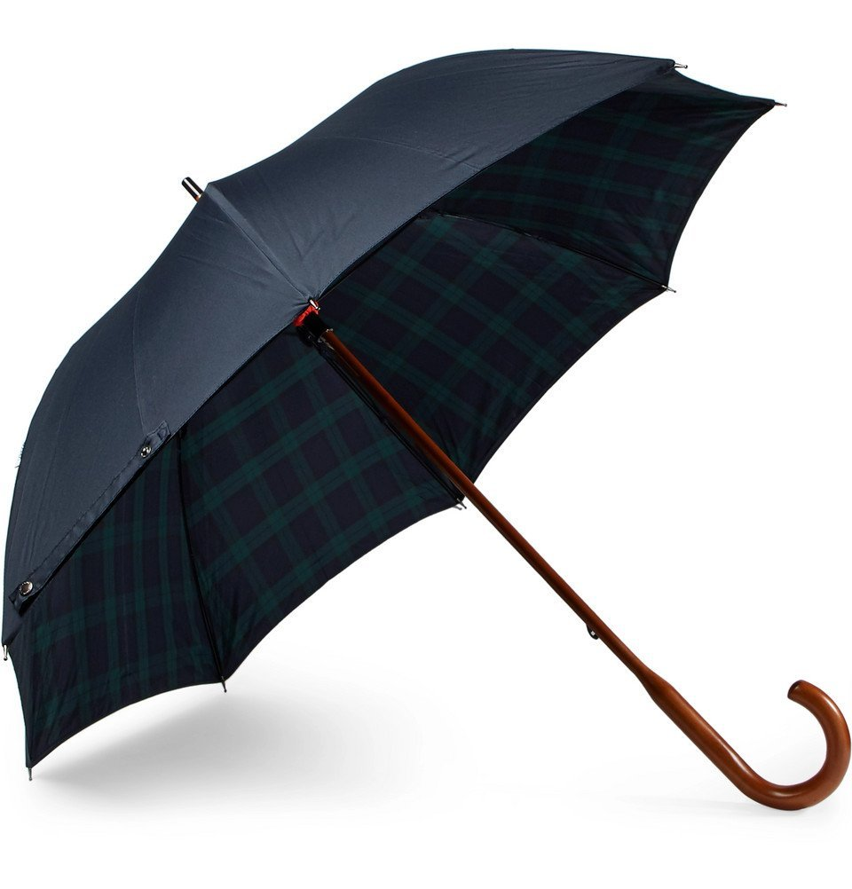 Photo: London Undercover - Black Watch-Lined Wood-Handle Umbrella - Navy