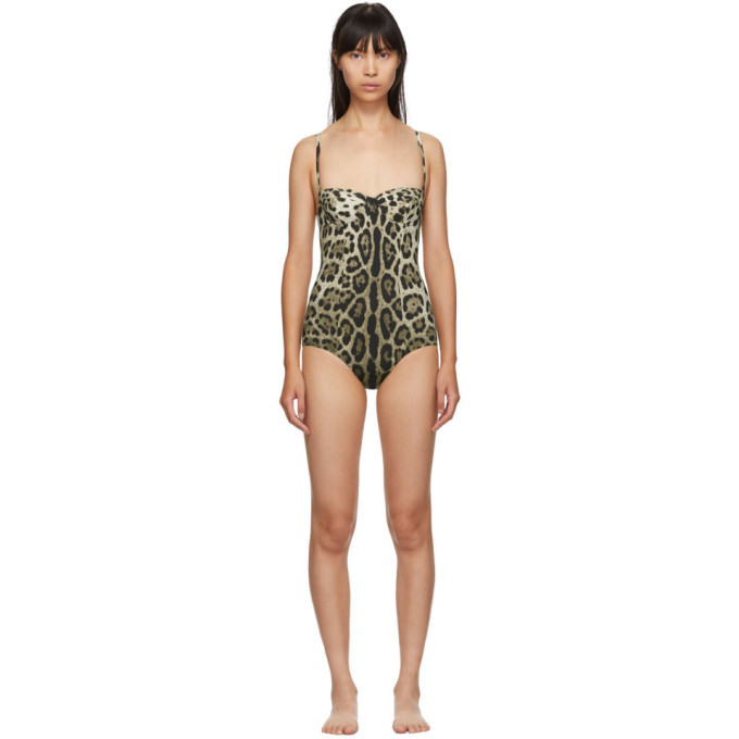 Photo: Dolce and Gabbana Tan Leopard One-Piece Swimsuit