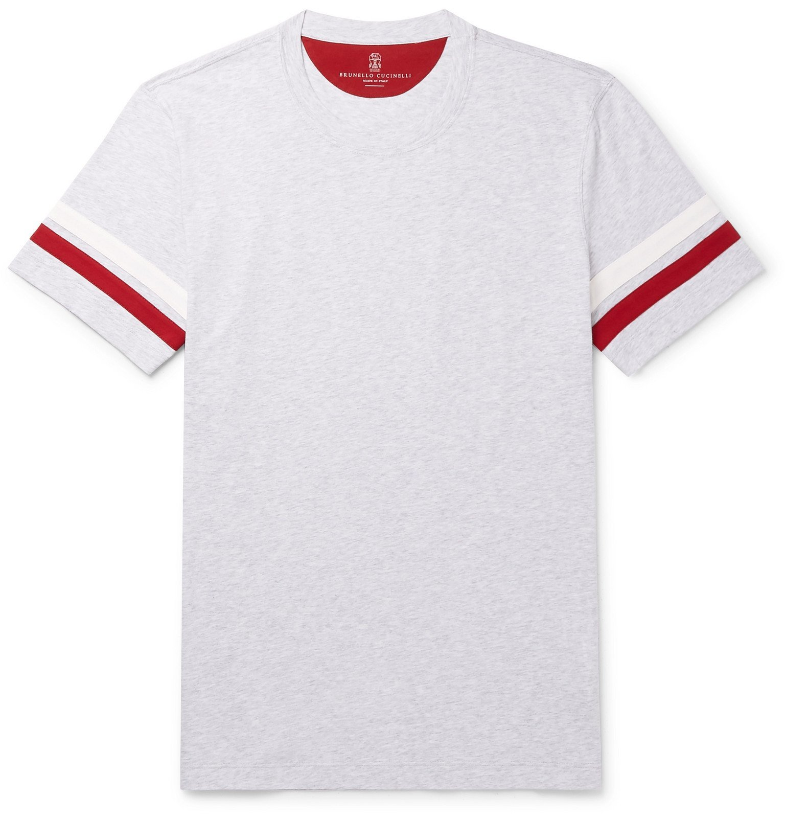 Photo: Brunello Cucinelli - Striped Cotton-Jersey T-Shirt - Gray