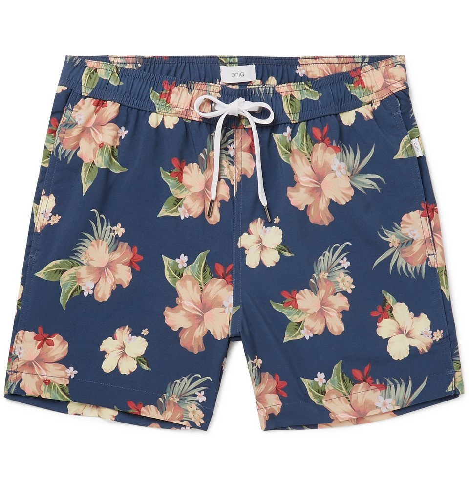 Photo: Onia - Charles Mid-Length Printed Swim Shorts - Navy