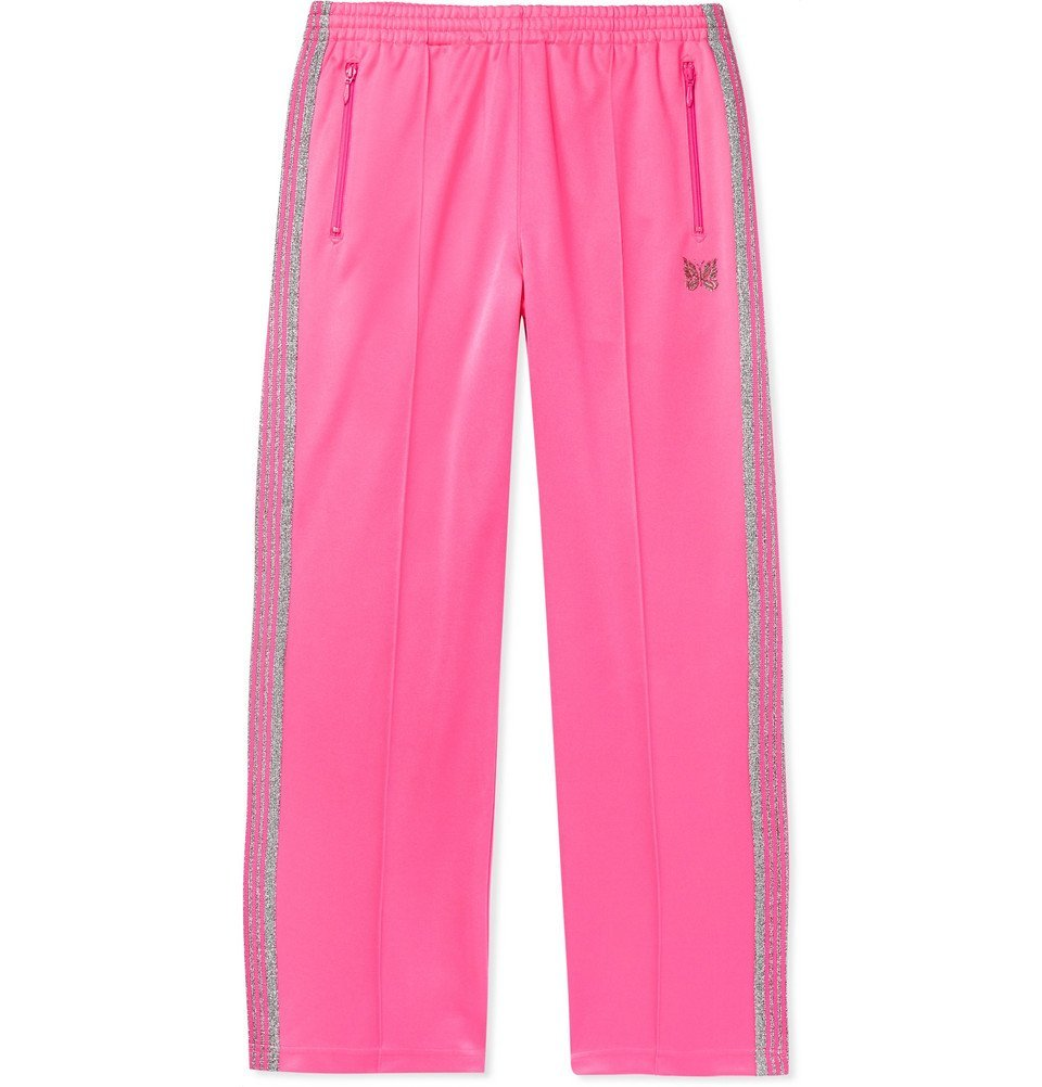 Photo: Needles - Glittered Webbing-Trimmed Tech-Jersey Track Pants - Pink