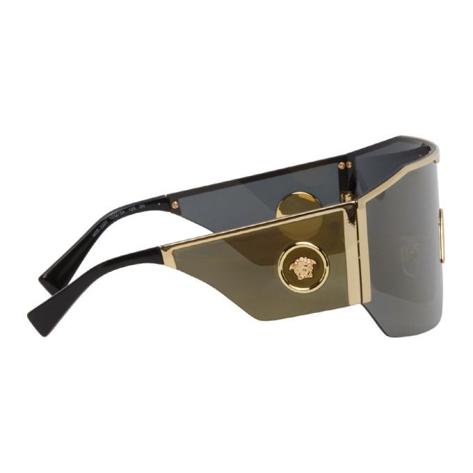 Versace Gold and Grey Mirror Shield Sunglasses