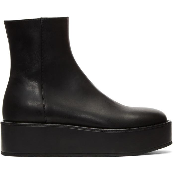 Photo: Ann Demeulemeester Black Vitello Olio Nero Boots