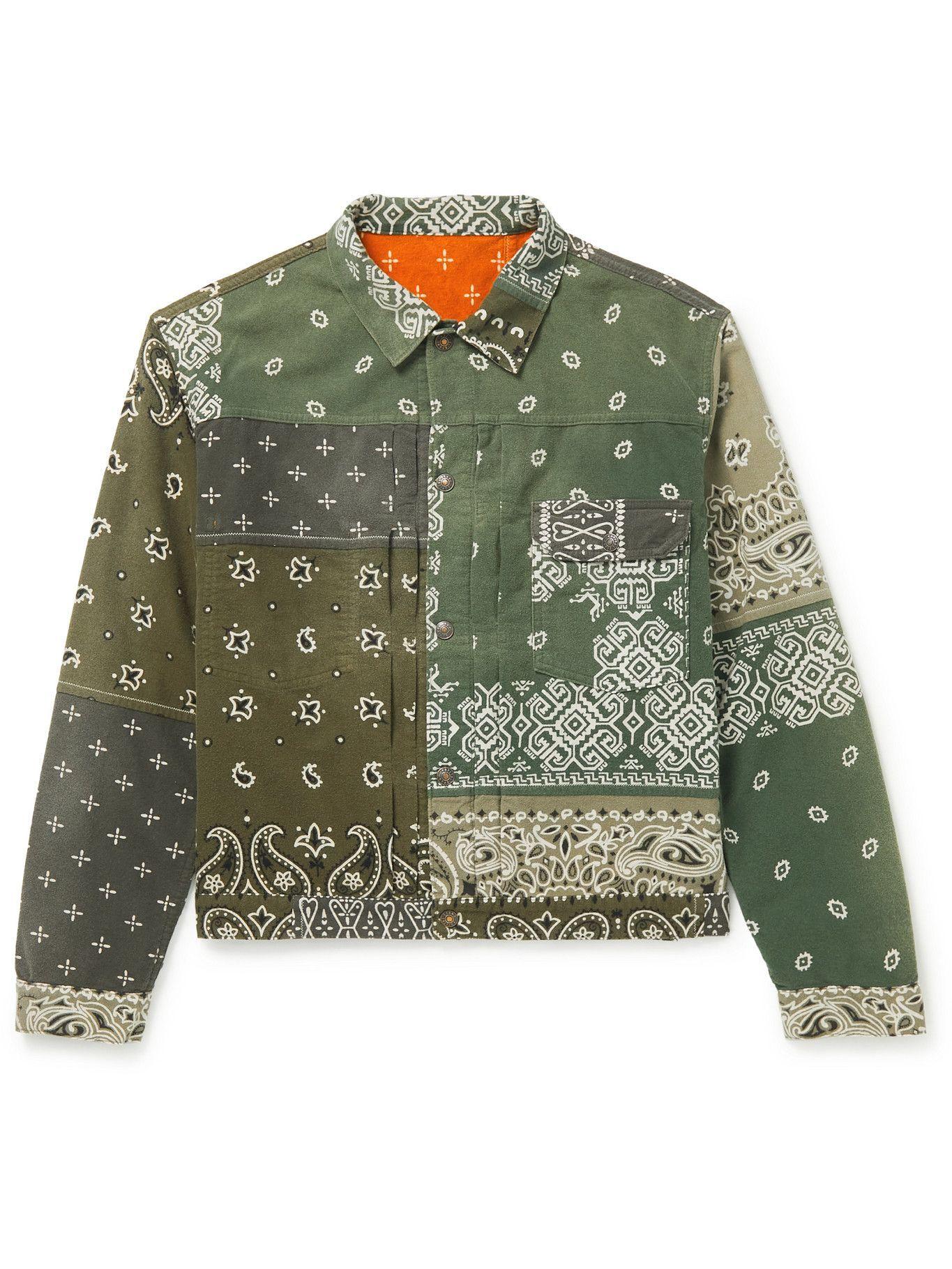 Photo: KAPITAL - Reversible Bandana-Print Felted Cotton Jacket - Green
